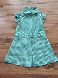 Green checkered collar dress for 3 years old