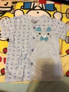 粉藍色棉質扣鈕外衣size100 (半價)