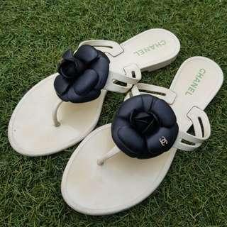 Chanel Jelly Camellia CC Thongs Sandals