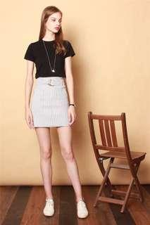 Anticlockwise Belted Striped Skirt in Grey