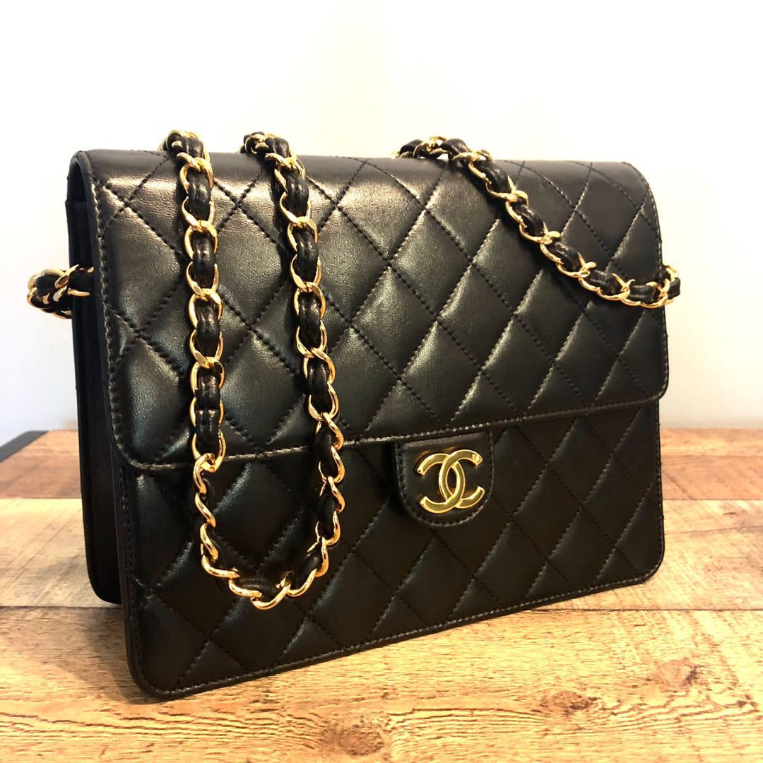 5371bc2a110e Authentic Chanel Lambskin 9 Inch Flap Bag with 24k Gold Hardware ...