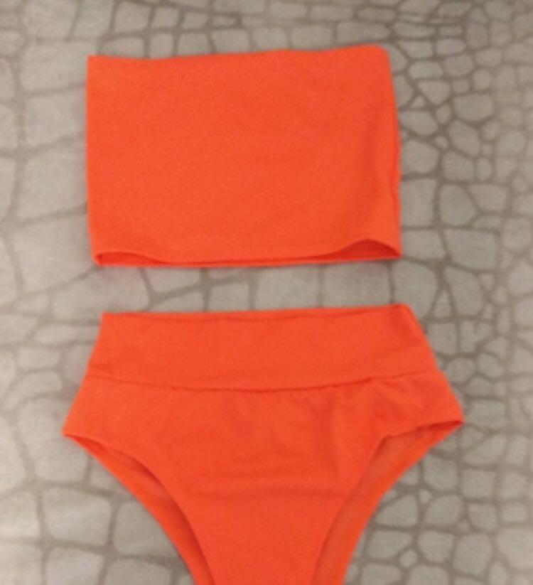 Bright orange bandeau bikini set