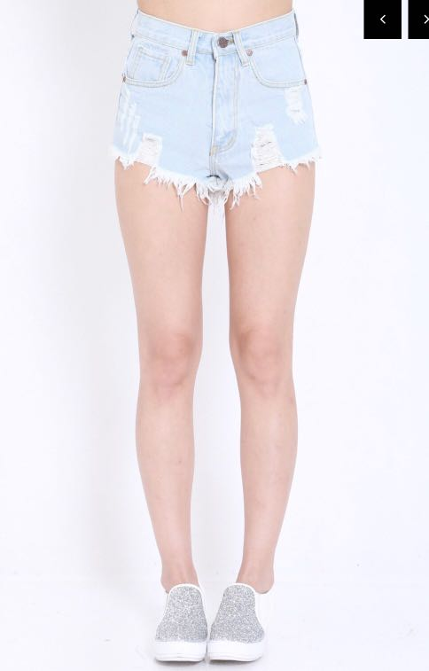 9ed8824fd86 Carrislabelle Ripped Denim Shorts light blue in s, Women's Fashion ...