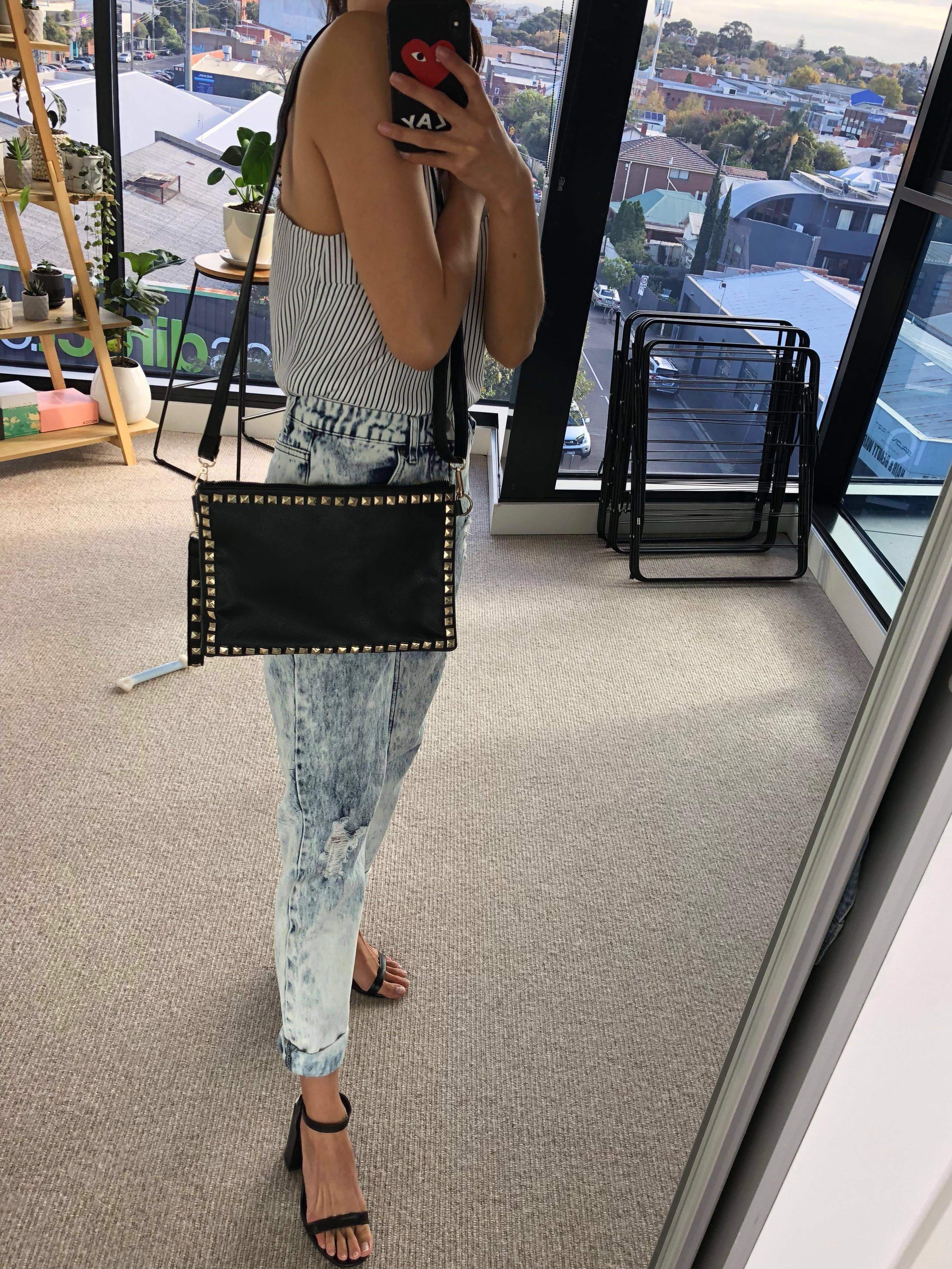 Car's Black Leather Gold Studded Clutch