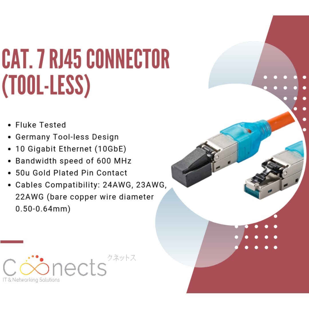 Cat 7 Rj45 Connector Tool Less Electronics Computer Parts Socket Wiring Accessories On Carousell