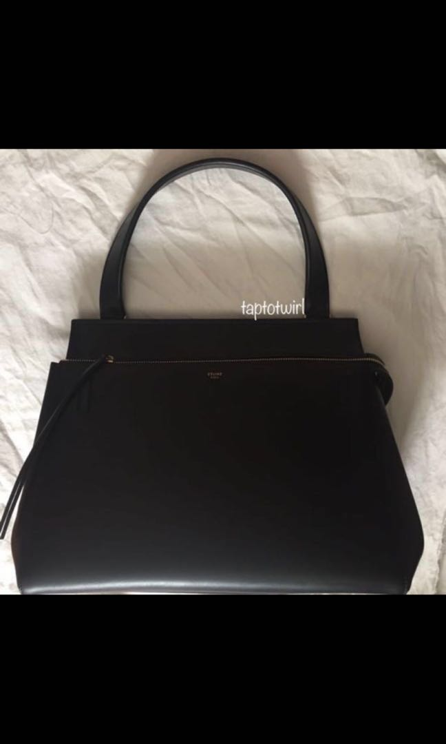 6868699451 Celine Edge Palmelato Leather Medium Bag in black and red leather interior