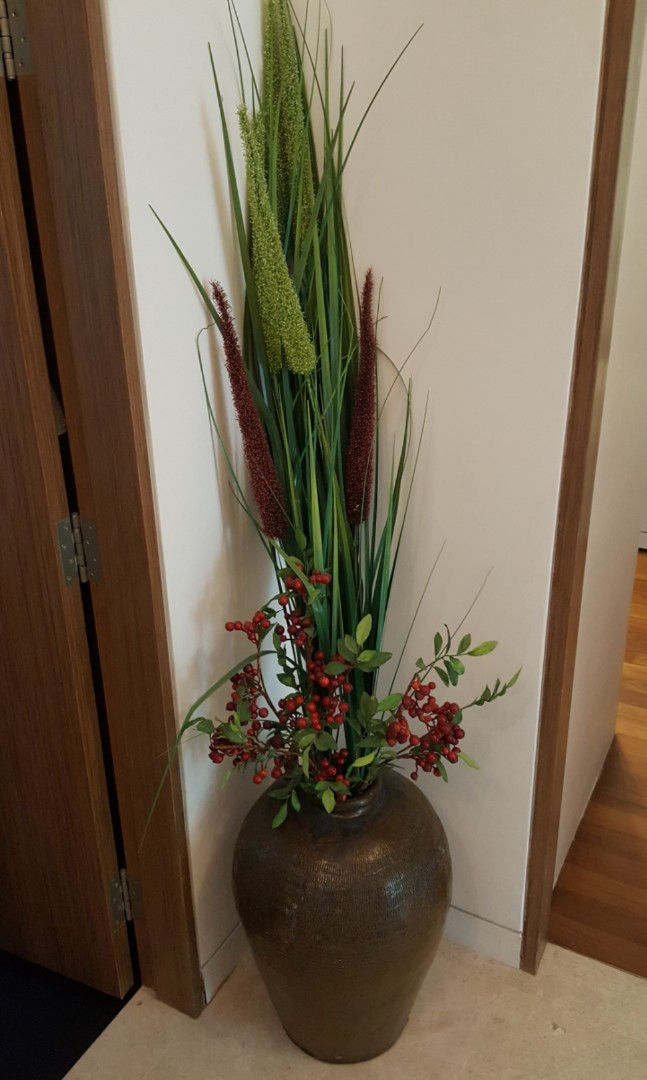 Share This Listing & Decorative vase with artificial plant and flowers Furniture Home ...