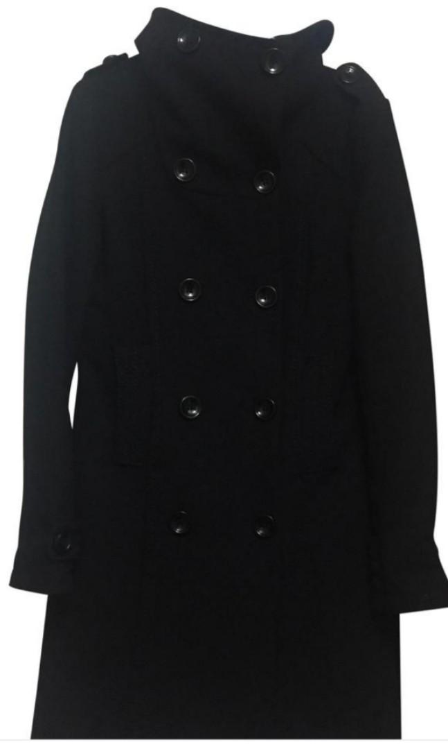 H&M Dividend Black Trench Coat (size 8)