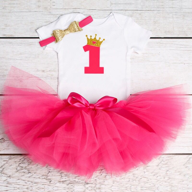 Instock Hot Pink Gold One Year Old Birthday Clothes Set