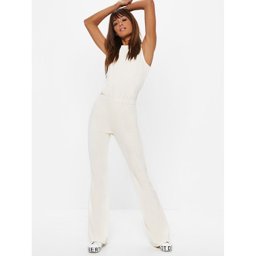 ivory rib flare leg sleeveless jumpsuit