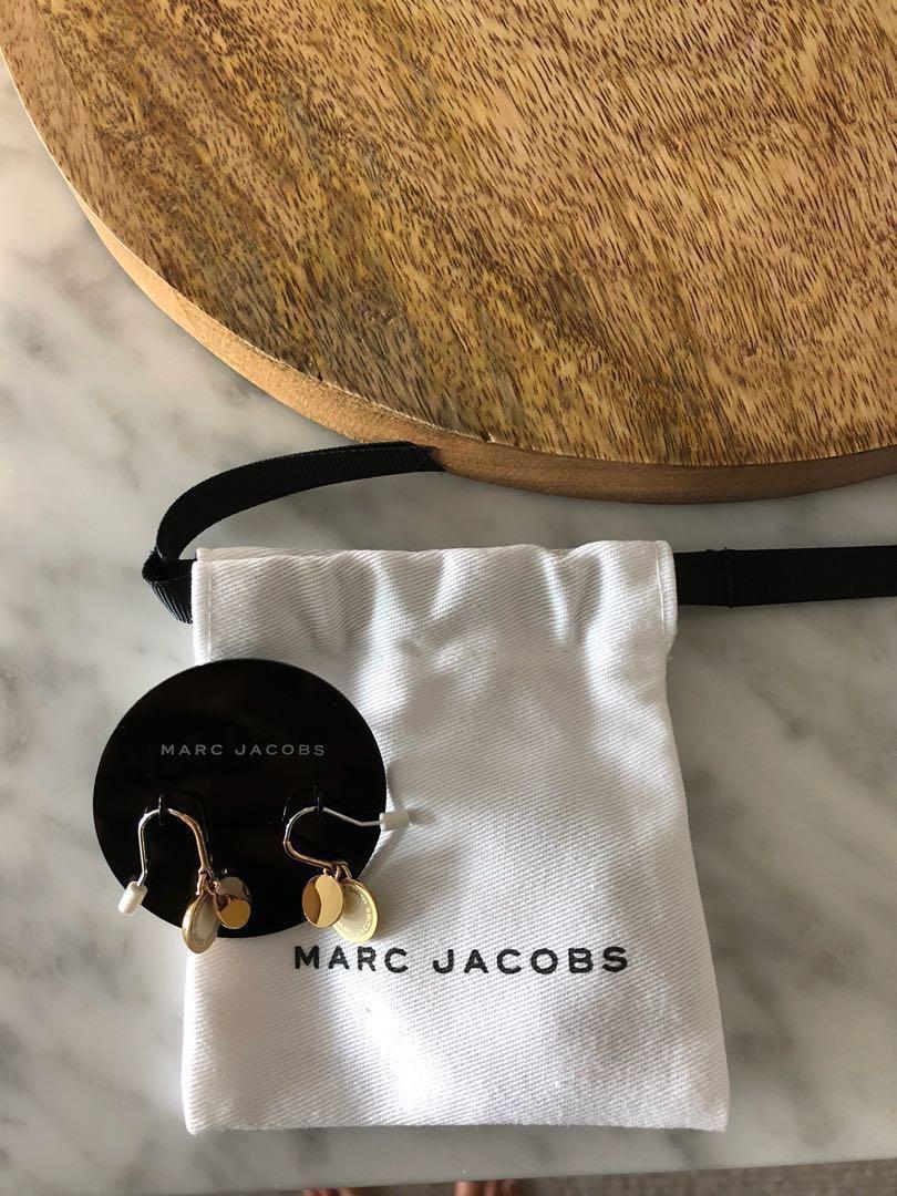 Marc Jacobs Enamel Logo White and Gold Disc Earrings