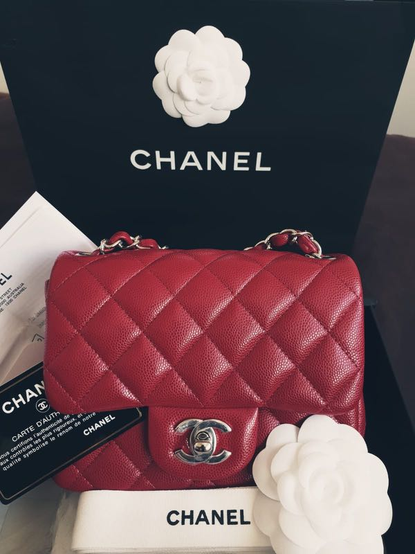 cea5067699bb New Chanel Mini Square 18B collection! Raspberry!, Luxury, Bags & Wallets,  Handbags on Carousell
