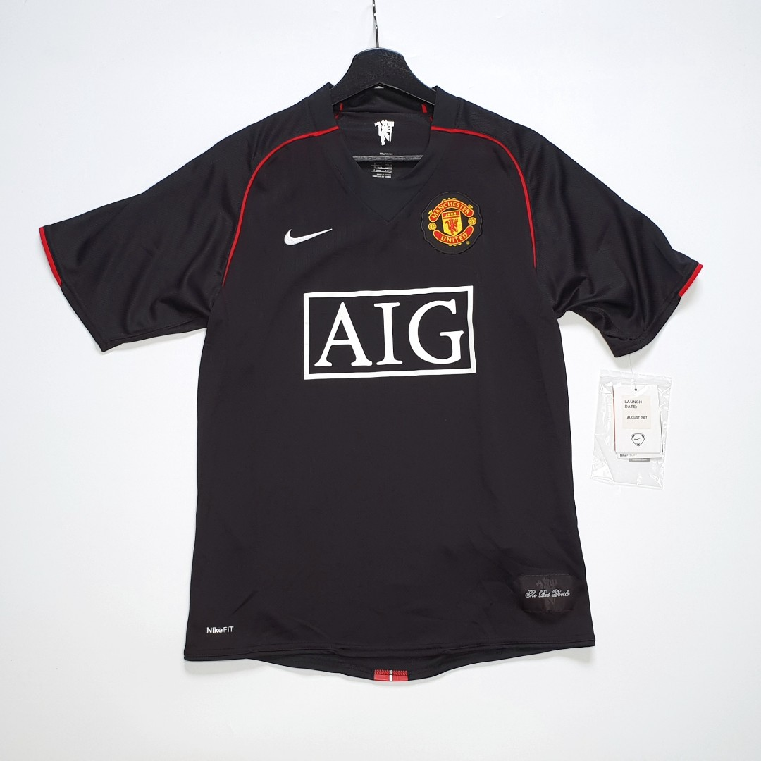 11d1f2b0748 SOLD  Nike Manchester United 07-08 Black Away Jersey Shirt