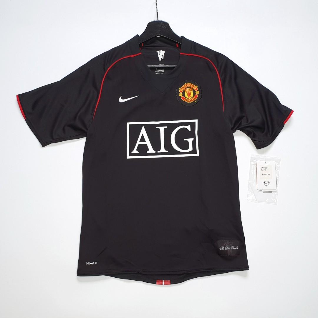 super popular 1bdc1 a43ef SOLD] Nike Manchester United 07-08 Black Away Jersey Shirt ...