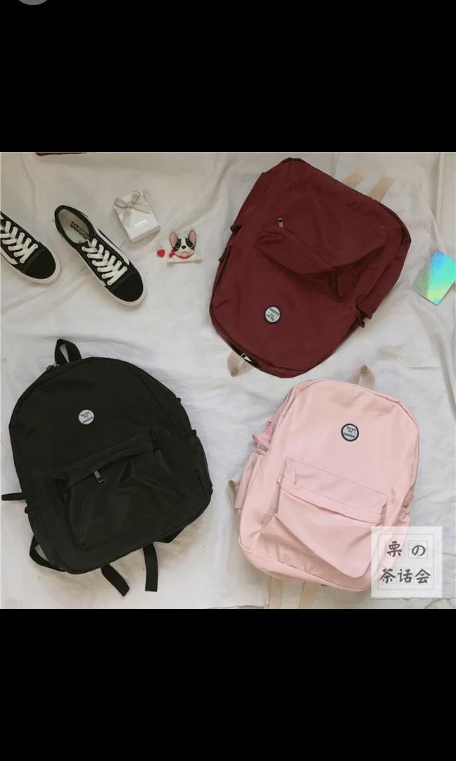 ea53f20b34 Po korean ulzzang tumblr logo basic colour waterproof backpack ...