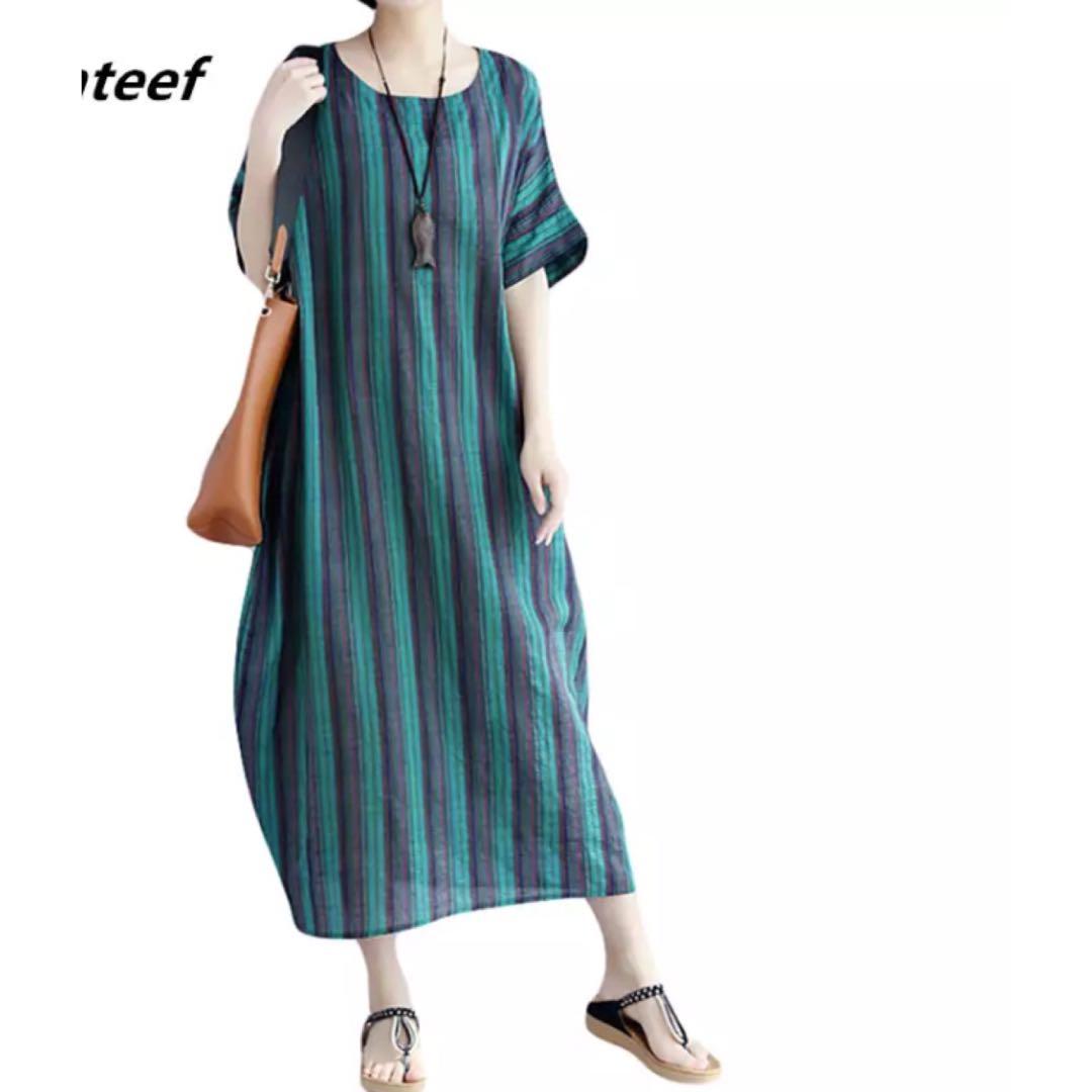 5debeb758e16b PO) M-XXL fashion cotton linen vintage stripe clothes plus size ...