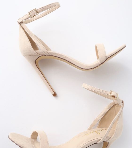 3752bfc0ef8 SILA NUDE SUEDE ANKLE STRAP HEELS