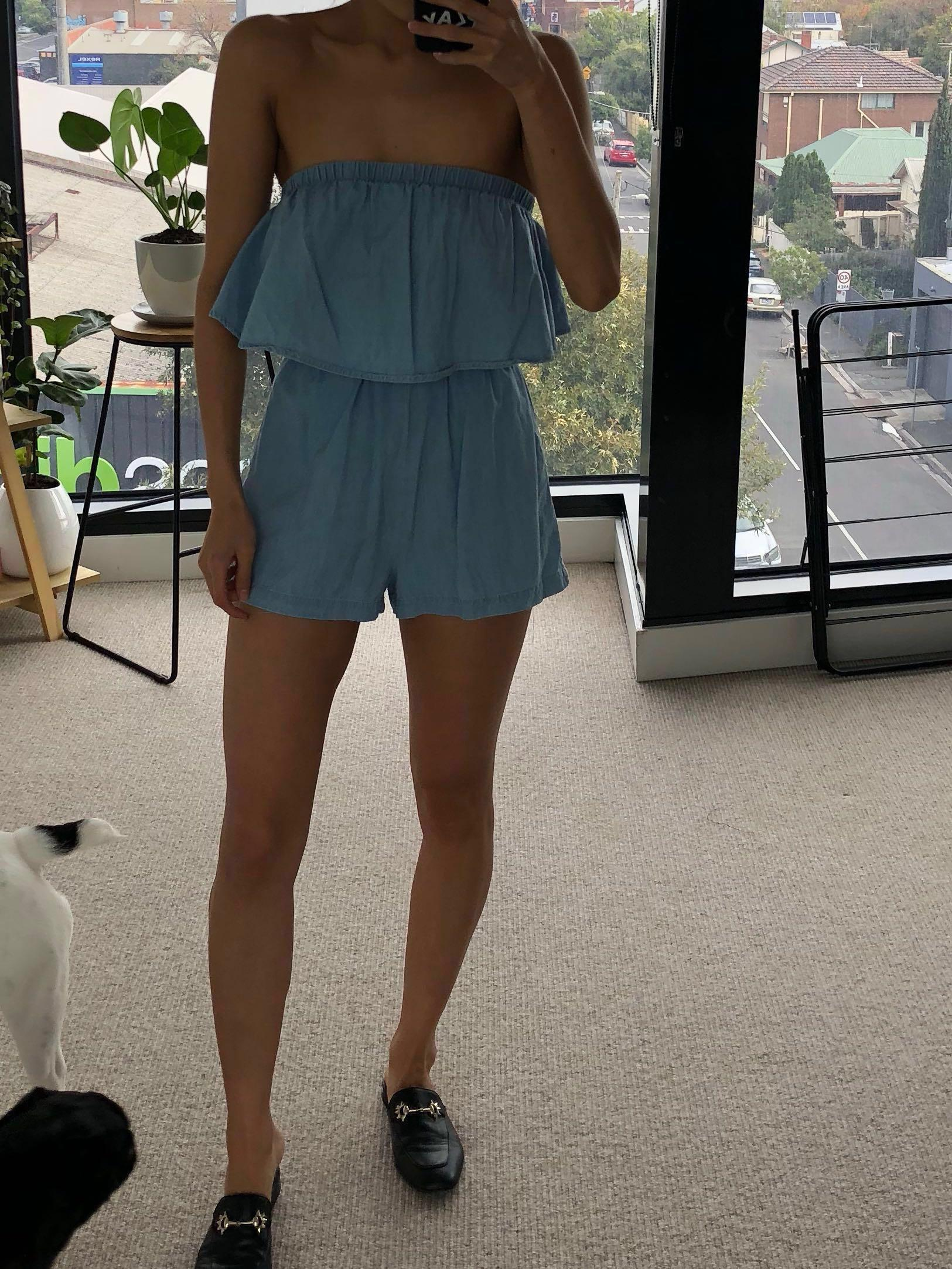 Slide Show Pale Blue Strapless Playsuit