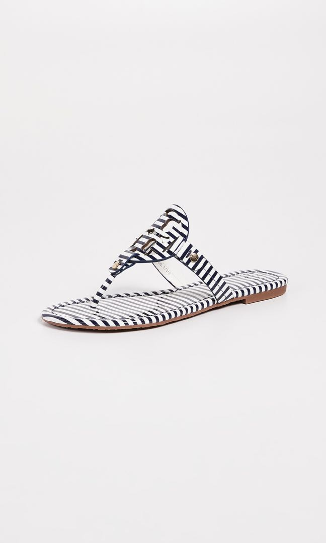 b8e9935b088f7 Tory Burch Logo Navy Stripe Sandals