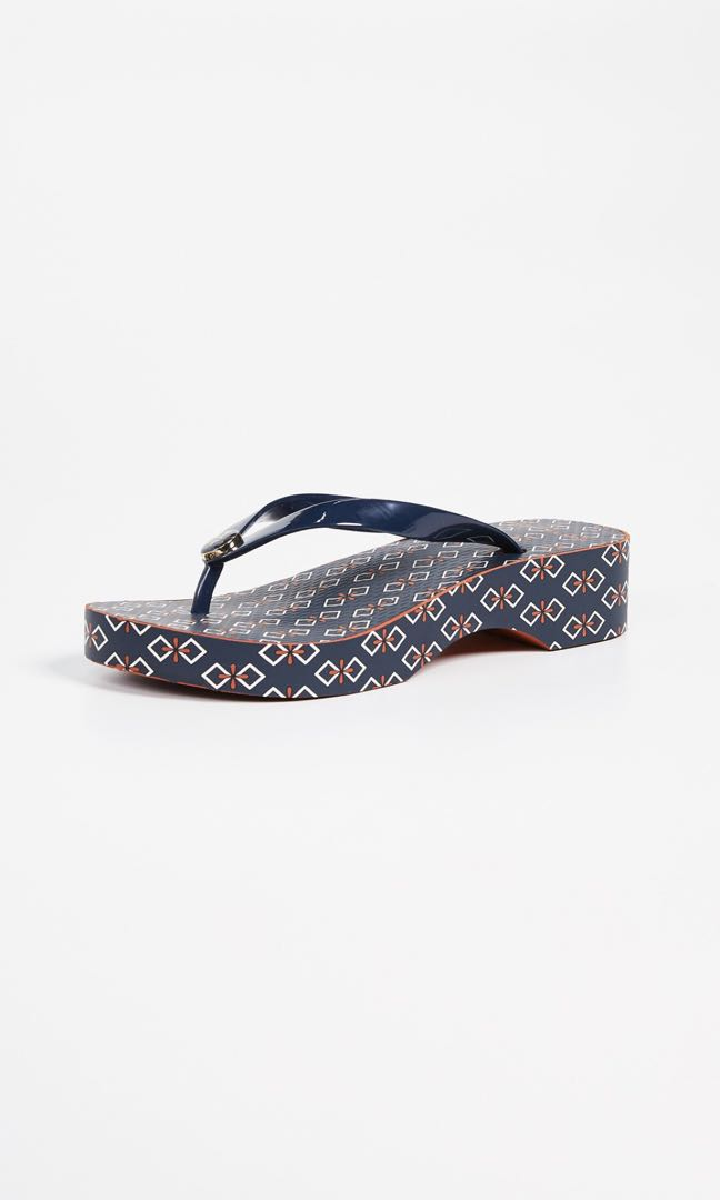 ae5bf0289ef Tory Burch Navy Elevated Flops