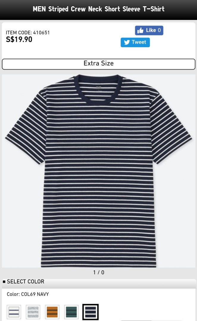 192bf9fa0b Uniqlo Men Striped Crew Neck Short Sleeve T-Shirt in Navy, Men's ...