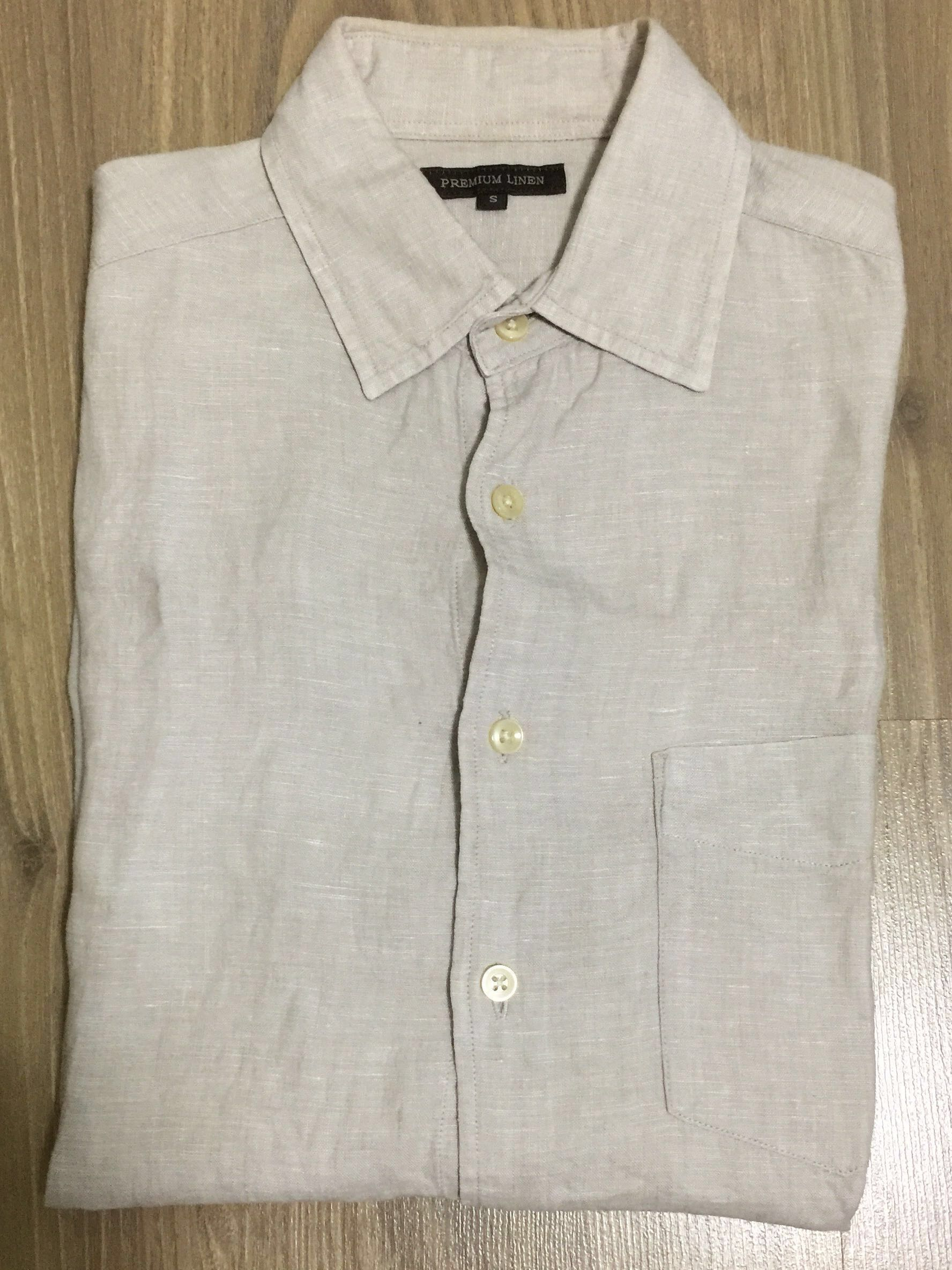 ac694672308f90 Uniqlo Premium Linen Long Sleeve Shirt - Beige, Men's Fashion, Clothes, Tops  on Carousell