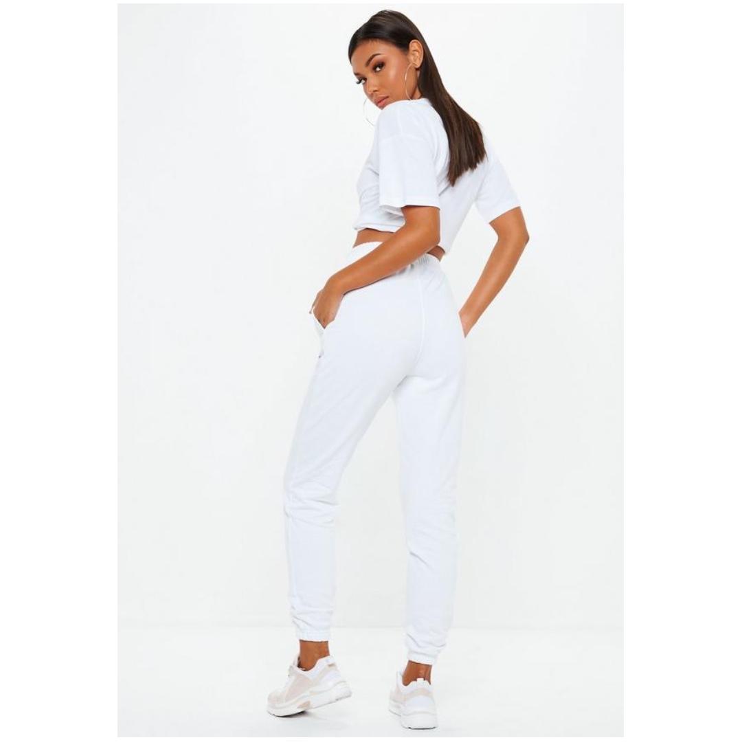 white loopback slim leg joggers