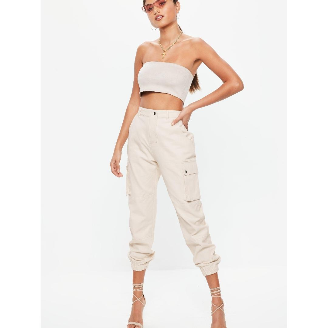 Women's Natural Sand Plain Cargo Trousers