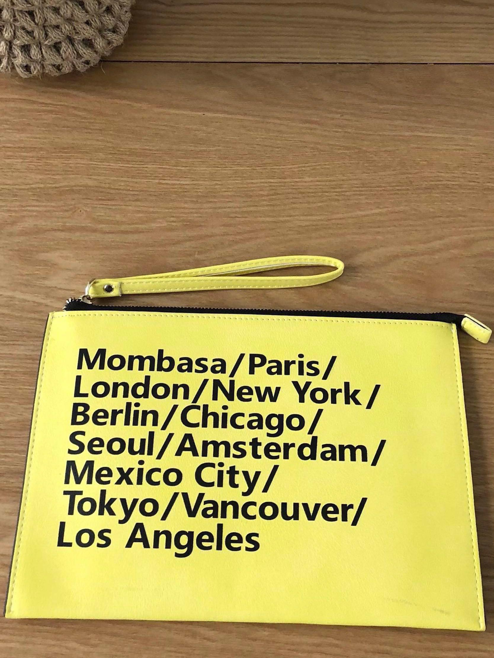 Yellow Countries Leather Purse / Clutch