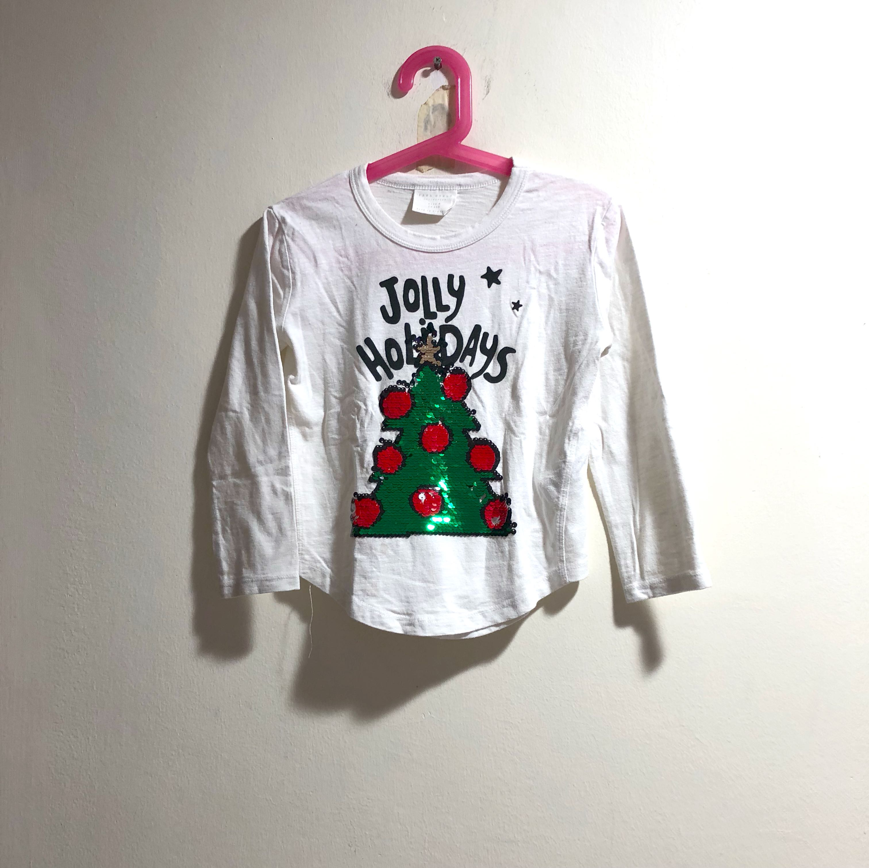 5594d6623 Zara reversible sequined Christmas top, Babies & Kids, Girls' Apparel, 4 to  7 Years on Carousell