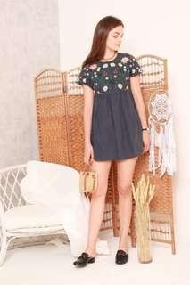 Anticlockwise Embroidery Romper Dress