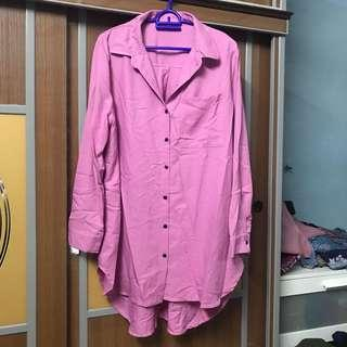 Preloved Pink Button Long Blouse