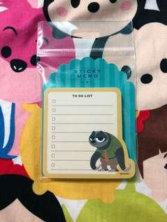 BN Official Zootopia Sloth Disney Store To-do list Post-it Note