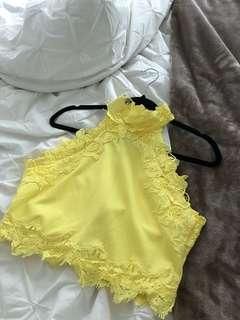Yellow halter top with lacy trimming