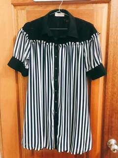 Angel專櫃日系深藍條紋黑色蕾絲上衣