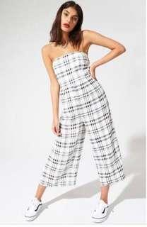 Evil twin black and white plaid strapless jumpsuit