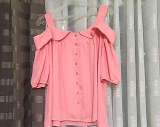 Baby Pink Off-Shoulder Blouse