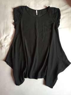 長版黑色透紗
