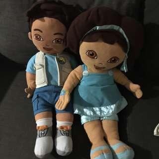 Diego and Dora stuffed toy bundle