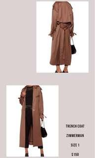 Zimmerman size 1 trench coat $75 - RRP $1500