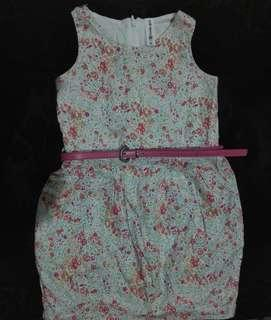 Moose Girl Floral Dress XL with Belt