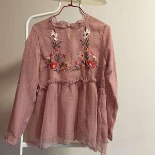 🚚 Textures babydoll pink blouse