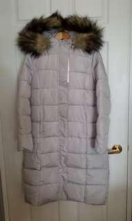 Brand New Light Grey Downfill Long Parka Women's Sz 6/8