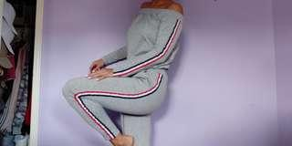 Grey Stripe Track Suit (Off Shoulder Sweater + Joggers)