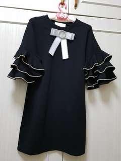 Nana Reves Black Crystal Studd Dress