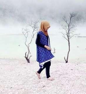 Long vest biru