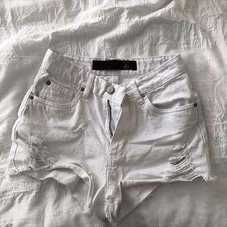 white demim shorts