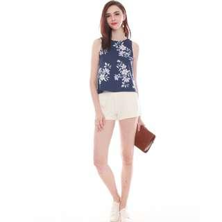 BNWT Anticlockwise ACW Pastel Floral Shell Top in Navy