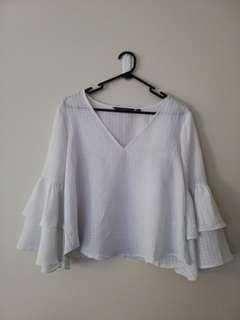 Glassons Formal silky mid sleeve frill top white