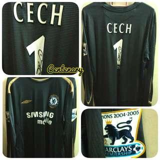 Signed Cech 1 Chelsea Umbro Centenary Home Goalkeeper Kit Jersey 2005-2006 Men XL Ori